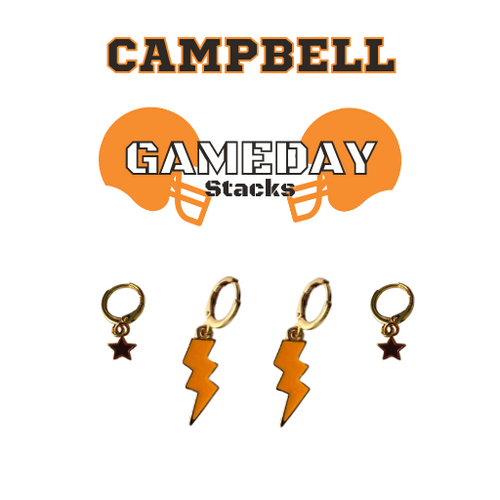Campbell University Game Day Set with Orange Mini Enamel Bolts with Black Baby Stars on Stand