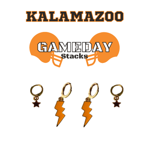 Kalamazoo College Game Day Set with Orange Mini Enamel Bolts with Black Baby Stars on Stand