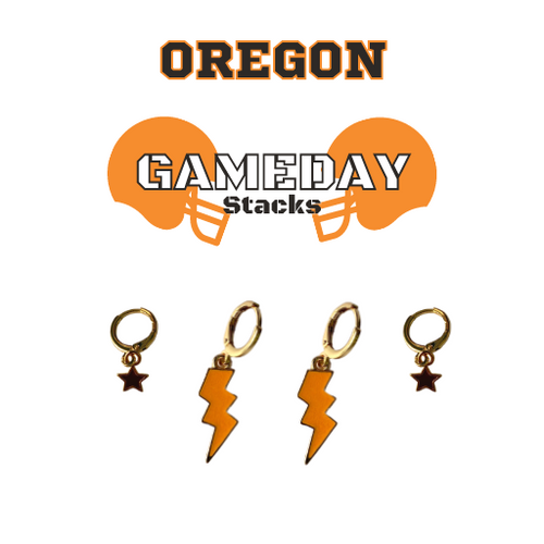Oregon State University Game Day Set with Orange Mini Enamel Bolts with Black Baby Stars on Stand