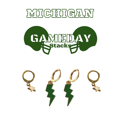 Michigan State University Game Day Set with Green Mini Enamel Bolts with White Baby Stars on Stand