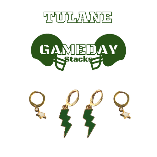 Tulane University Game Day Set with Green Mini Enamel Bolts with White Baby Stars on Stand