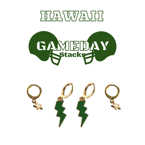 University of Hawaii Game Day Set with Green Mini Enamel Bolts with White Baby Stars on Stand
