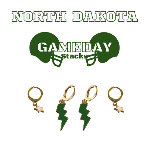 University of North Dakota Game Day Set with Green Mini Enamel Bolts with White Baby Stars on Stand