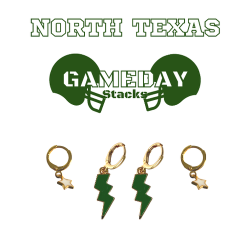 University of North Texas Game Day Set with Green Mini Enamel Bolts with White Baby Stars on Stand