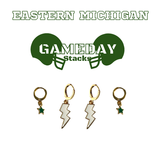 Eastern Michigan University Game Day Set with White Mini Enamel Bolts with Green Baby Stars on Stand