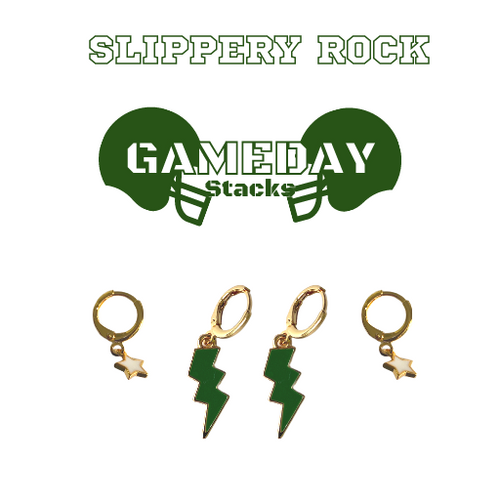 Slippery Rock University of Pennsylvania Game Day Set with Green Mini Enamel Bolts with White Baby Stars on Stand