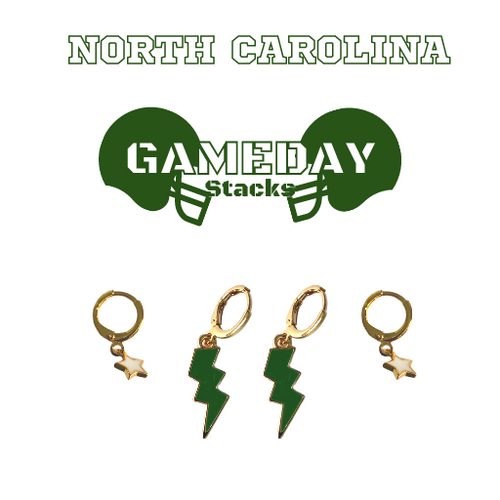 University of North Carolina at Charlotte Game Day Set with Green Mini Enamel Bolts with White Baby Stars on Stand