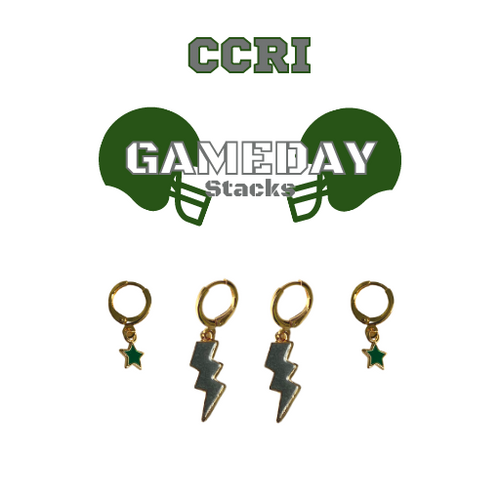 Community College of Rhode Island Game Day Set with Grey Mini Enamel Bolts with Green Baby Stars on Stand
