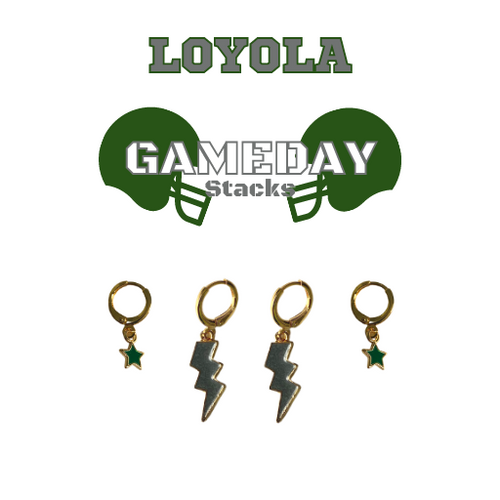 Loyola University Maryland Game Day Set with Grey Mini Enamel Bolts with Green Baby Stars on Stand