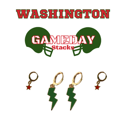 Washington University in St. Louis Game Day Set with Green Mini Enamel Bolts with Red Baby Stars on Stand
