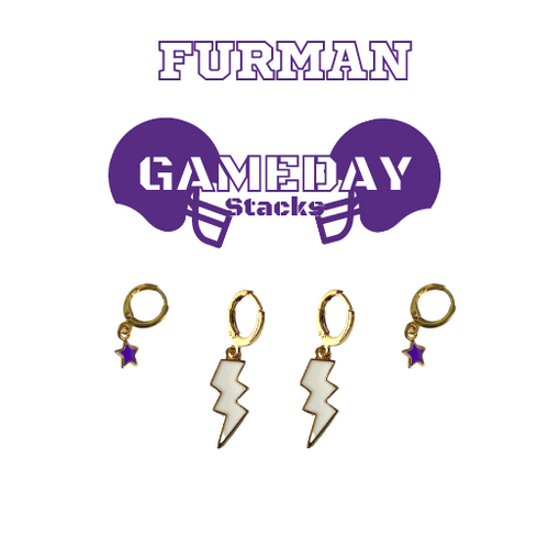Furman University Game Day Set with White Mini Enamel Bolts with Purple Baby Stars on Stand
