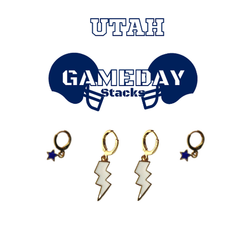 Utah State University Game Day Set with White Mini Enamel Bolts with Navy Baby Stars on Stand
