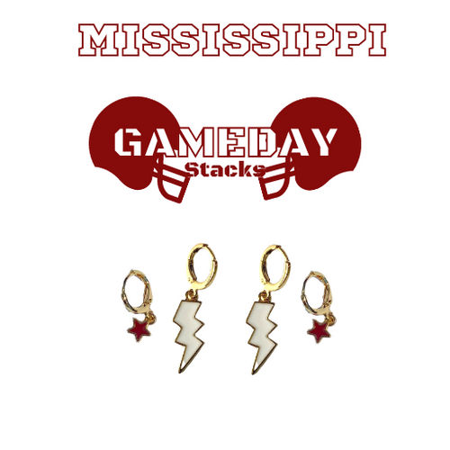 Mississippi State University Game Day Set with White Mini Enamel Bolts with Maroon Baby Stars on Stand