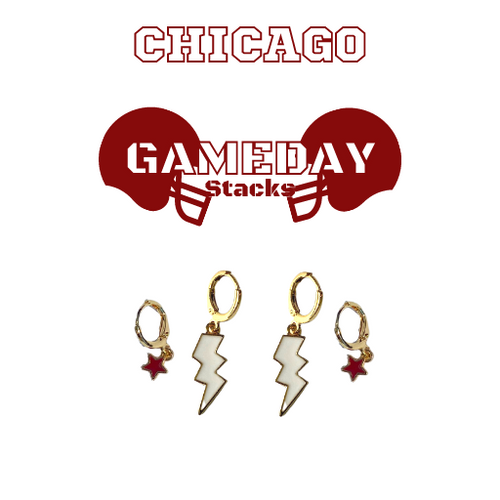 University of Chicago Game Day Set with White Mini Enamel Bolts with Maroon Baby Stars on Stand