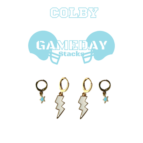 Colby College Game Day Set with White Mini Enamel Bolts with Baby Blue Baby Stars on Stand