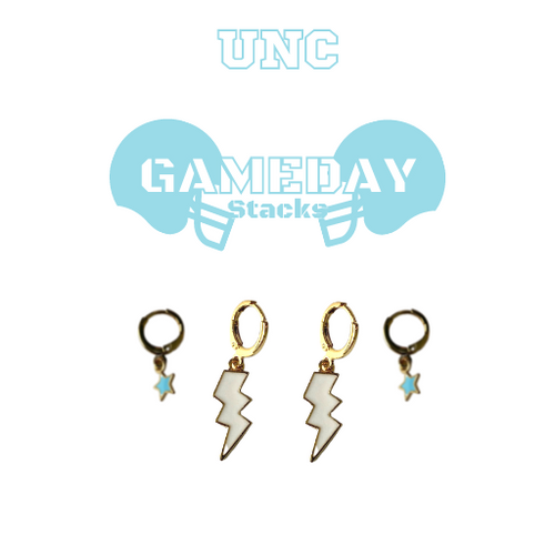 University of North Carolina at Chapel Hill Game Day Set with White Mini Enamel Bolts with Baby Blue Baby Stars on Stand