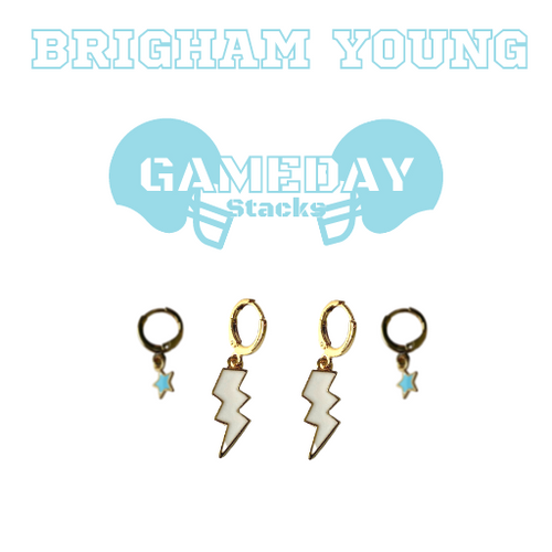 Brigham Young University (Idaho) Game Day Set with White Mini Enamel Bolts with Baby Blue Baby Stars on Stand