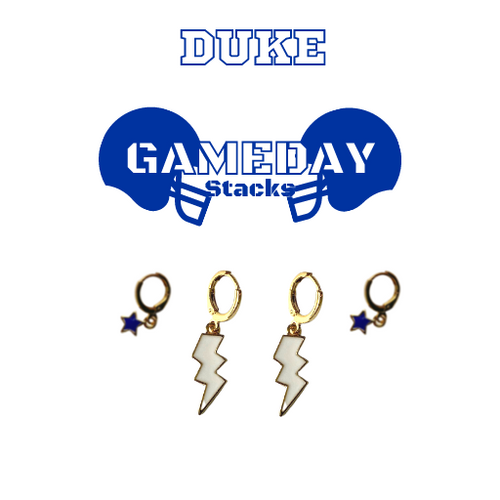 Duke University Game Day Set with White Mini Enamel Bolts with Navy Baby Stars on Stand