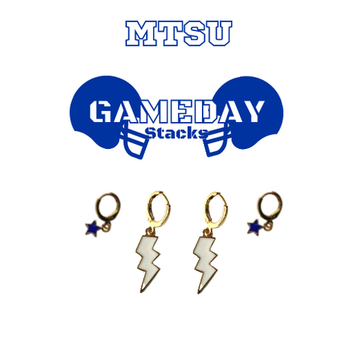 Middle Tennessee State University Game Day Set with White Mini Enamel Bolts with Navy Baby Stars on Stand