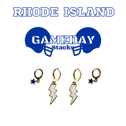 University of Rhode Island Game Day Set with White Mini Enamel Bolts with Navy Baby Stars on Stand