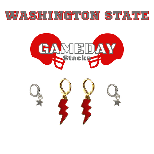 Washington State University Game Day Set with Red Mini Enamel Bolts with Grey Baby Stars on Stand