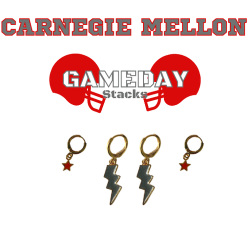 Western Colorado University Game Day Set with Grey Mini Enamel Bolts with Red Baby Stars on Stand