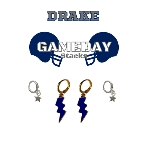 Carnegie Mellon University Game Day Set with Navy Mini Enamel Bolts with Grey Baby Stars on Stand