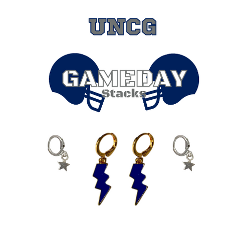University of North Carolina at Greensboro Game Day Set with Navy Mini Enamel Bolts with Grey Baby Stars on Stand