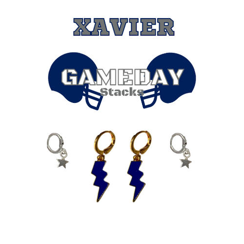 Xavier University Game Day Set with Navy Mini Enamel Bolts with Grey Baby Stars on Stand
