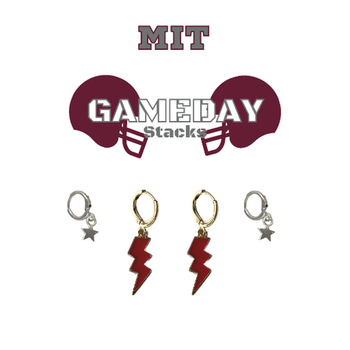 Massachusetts Institute of Technology Game Day Set with Maroon Mini Enamel Bolts with Grey Baby Stars on Stand
