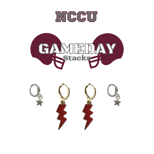 North Carolina Central University Game Day Set with Maroon Mini Enamel Bolts with Grey Baby Stars on Stand