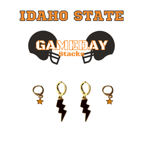 Idaho State University Game Day Set with Black Mini Enamel Bolts with Orange Baby Stars on Stand