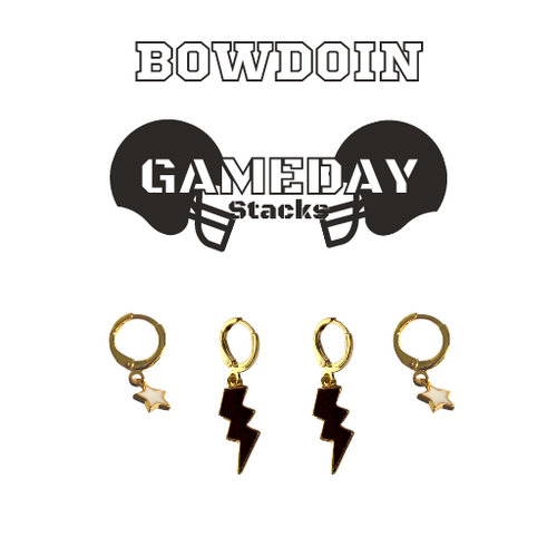 Bowdoin College Game Day Set with Black Mini Enamel Bolts with White Baby Stars on Stand