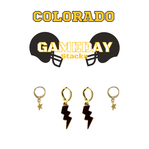 Colorado College Game Day Set with Black Mini Enamel Bolts with Golden Yellow Baby Stars on Stand