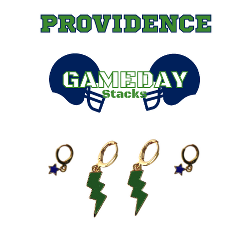 University of Providence Game Day Set with Green Mini Enamel Bolts with Navy Baby Stars on Stand