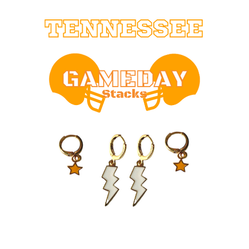 University of Tennessee Game Day Set with White Mini Enamel Bolts with Orange Baby Stars on Stand