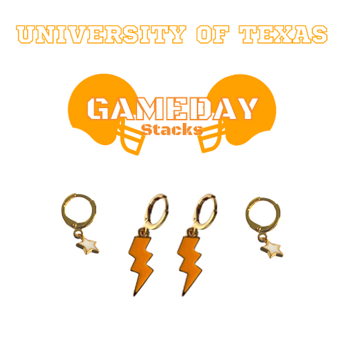 University of Texas Game Day Set with Orange Mini Enamel Bolts with White Baby Stars on Stand