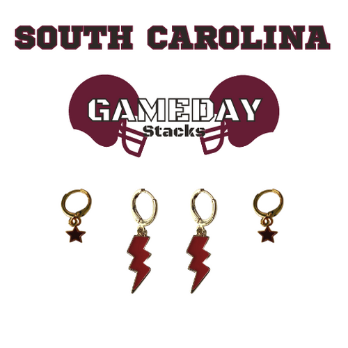 University of South Carolina Game Day Set with Black Mini Enamel Bolts with Maroon Baby Stars on Stand