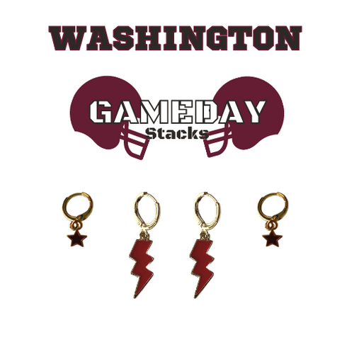 Washington College Game Day Set with Black Mini Enamel Bolts with Maroon Baby Stars on Stand