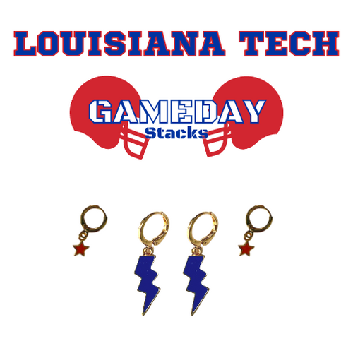 Louisiana Tech University Game Day Set with Cobalt Mini Enamel Bolts with Red Baby Stars on Stand