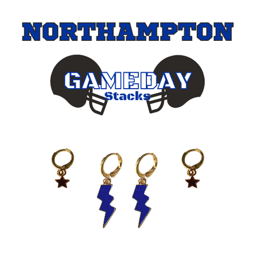 University of West Georgia Game Day Set with Cobalt Mini Enamel Bolts with Black Baby Stars on Stand