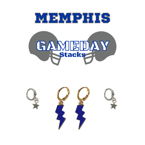 University of Memphis Game Day Set with Cobalt Mini Enamel Bolts with Grey Baby Stars on Stand