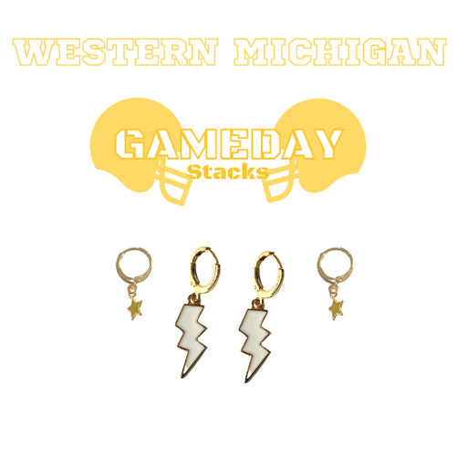 Western Michigan University Game Day Set with White Mini Enamel Bolts with Golden Yellow Baby Stars on Stand