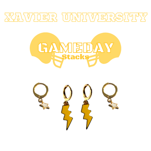 Xavier University of Louisiana Game Day Set with Golden Yellow Mini Enamel Bolts with White Baby Stars on Stand