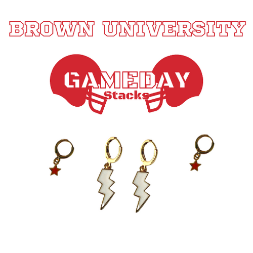 Brown University Game Day Set with White Mini Enamel Bolts with Red Baby Stars on Stand
