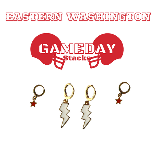 Eastern Washington University Game Day Set with White Mini Enamel Bolts with Red Baby Stars on Stand