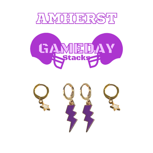 Amherst College Game Day Set with Purple Mini Enamel Bolts with White Baby Stars on Stand