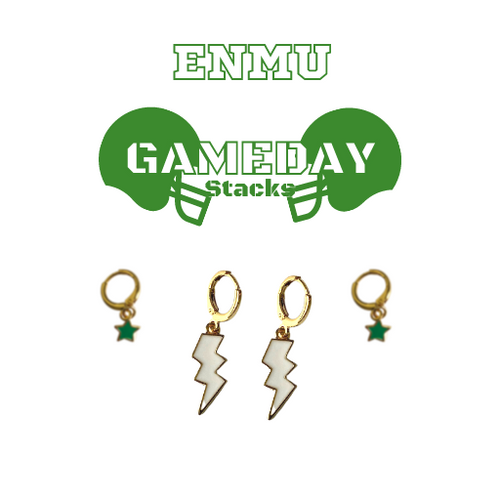 Eastern New Mexico University Game Day Set with White Mini Enamel Bolts with Green Baby Stars on Stand