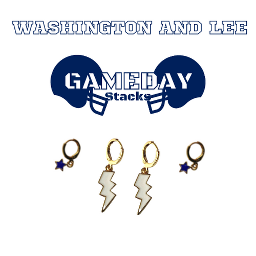 Washington and Lee University Game Day Set with White Mini Enamel Bolts with Navy Baby Stars on Stand