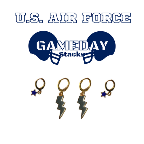 U.S. Air Force Academy Game Day Set with Grey Mini Enamel Bolts with Navy Baby Stars on Stand
